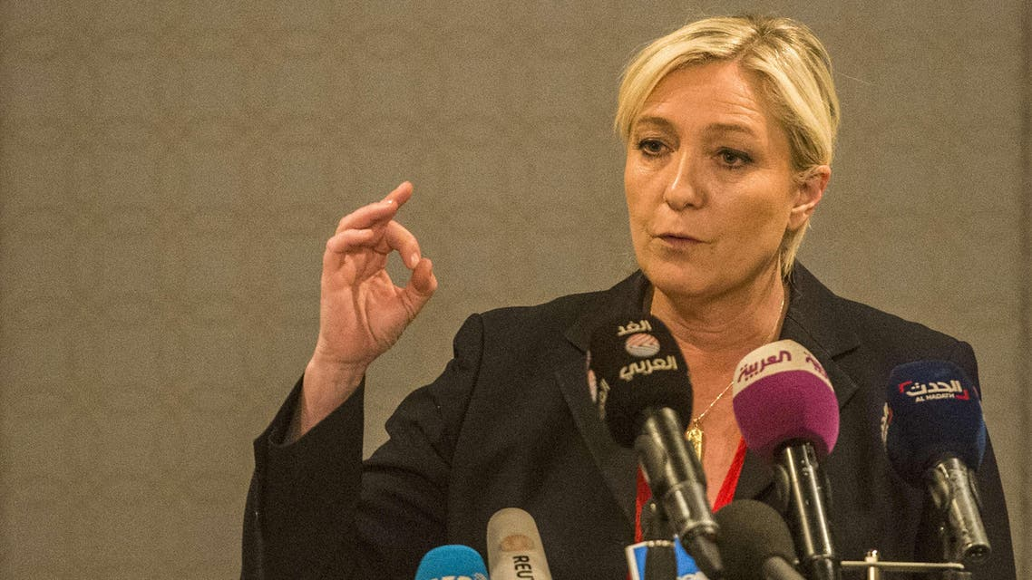 Marine Le Pen, leader of the French far-right Front National party, gives a press conference in Cairo on May 31, 2015. (AFP)