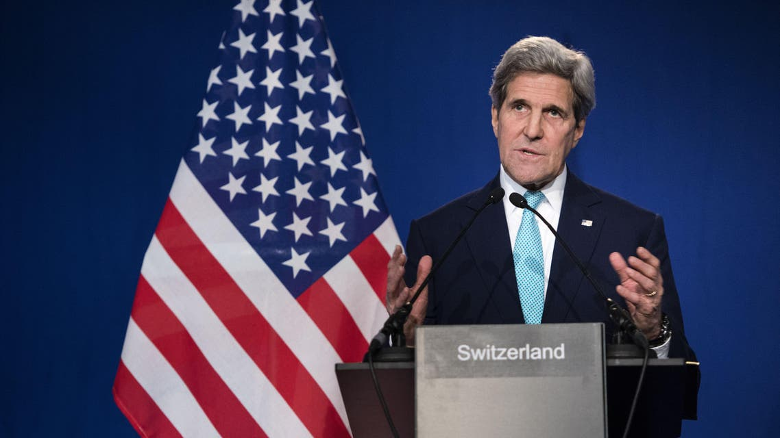 US Secretary of State John Kerry gestures as he speaks to the press at the Swiss Federal Institute of Technology, or Ecole Polytechnique Federale De Lausanne, in Lausanne, Switzerland, Thursday, April 2, 2015, after Iran nuclear program talks finished with extended sessions. The United States, Iran and five other world powers on Thursday announced an understanding outlining limits on Iran's nuclear program so it cannot lead to atomic weapons, directing negotiators toward achieving a comprehensive agreement within three months. (AP Photo/Brendan Smialowski, Pool)