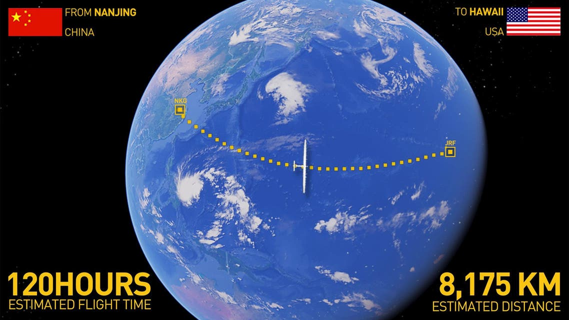 An undated handout image shows the flight path of the Solar Impulse 2 -a solar powered plane- for its journey from Nanjing, China, to Hawaii. (Reuters)