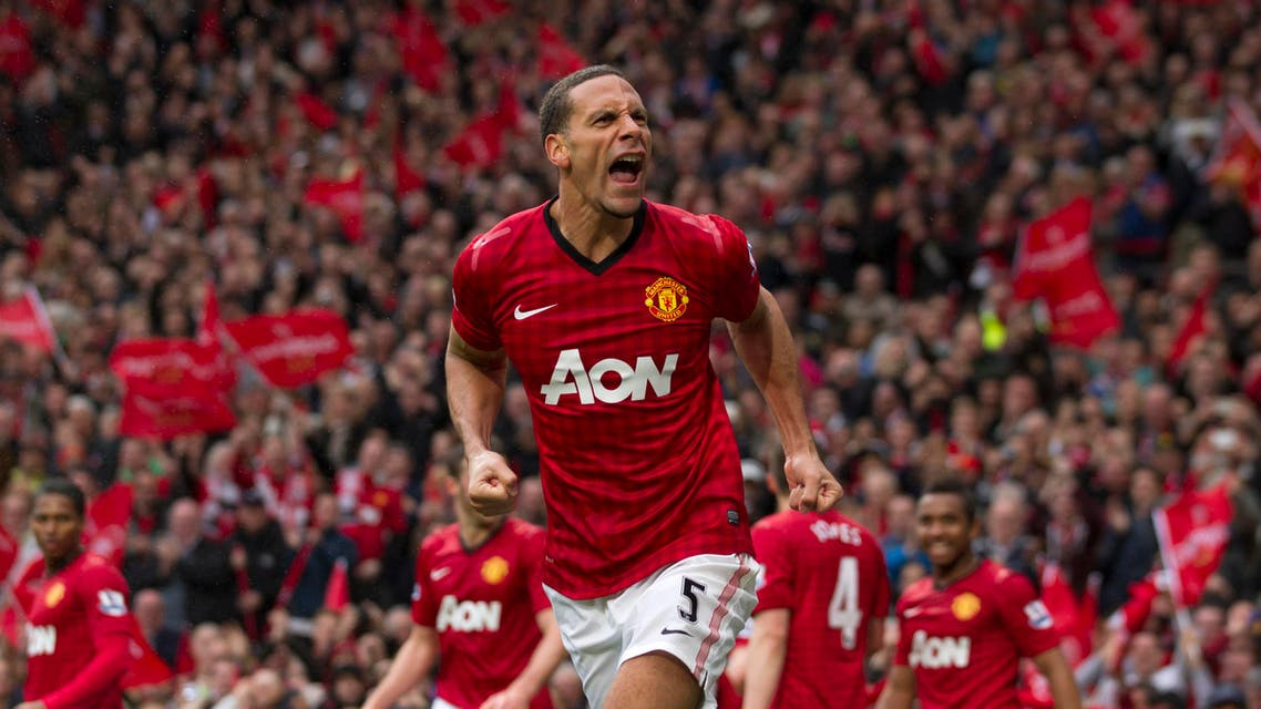Manchester United's Rio Ferdinand celebrates after scoring against Swansea City during their English Premier League soccer match at Old Trafford Stadium, Manchester, England, Sunday May 12, 2013. (AP)
