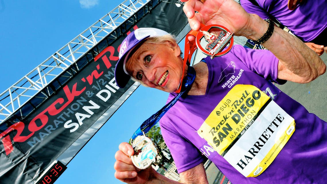 This photo provided by the Competitor Group 92-year-old cancer survivor Harriette Thompson of Charlotte, North Carolina, is shown after she completed the Rock 'n' Roll Marathon in San Diego in 7 hours, 24 minutes, 36 seconds, on Sunday, May 31, 2015. She became the oldest woman to finish a marathon. (Paul Nestor/Competitor Group via AP)