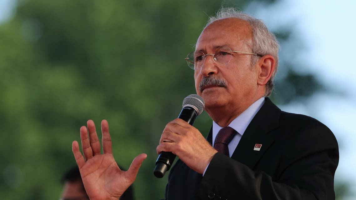 Turkey's main opposition Republican People's Party leader Kemal Kilicdaroglu addresses an election rally in Ankara, Turkey, Sunday, May 31, 2015. Turkey will hold general election on June 7, 2015 and approximately 56 million Turkish voters are eligible to cast their ballots to elect the 550 members of the Grand National Assembly. (AP Photo/Burhan Ozbilici)
