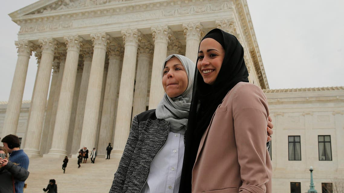 Samantha Elauf (R), who was denied a sales job at an Abercrombie Kids store in Tulsa in 2008, stands with her mother Majda outside the U.S. Supreme Court in Washington. (File: Reuters)