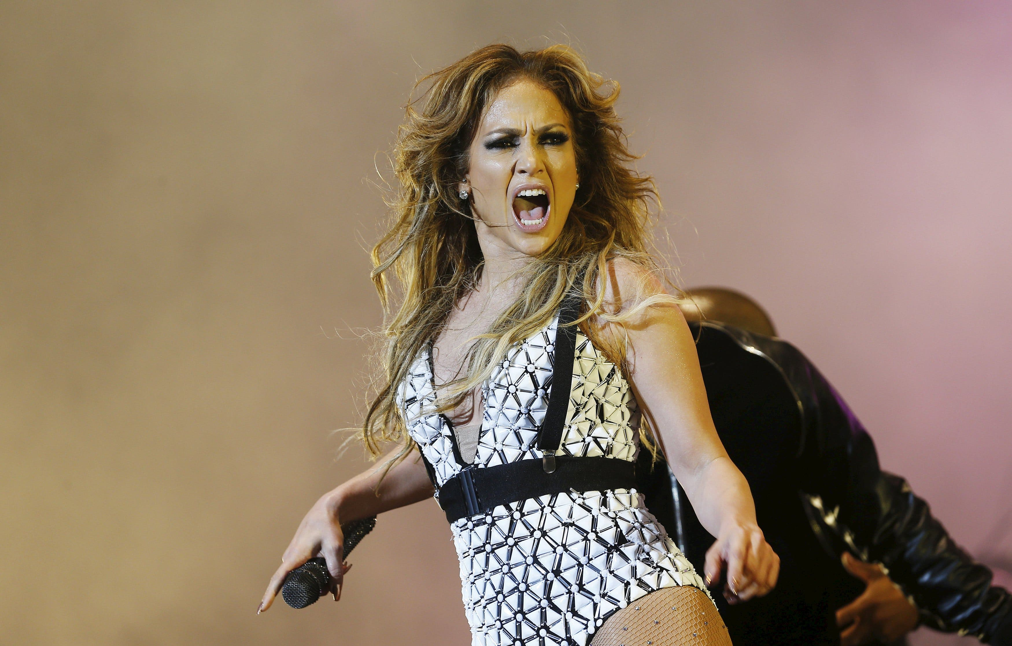 Singer Jennifer Lopez performs during the 14th Mawazine World Rhythms International Music Festival in Rabat. (Reuters)