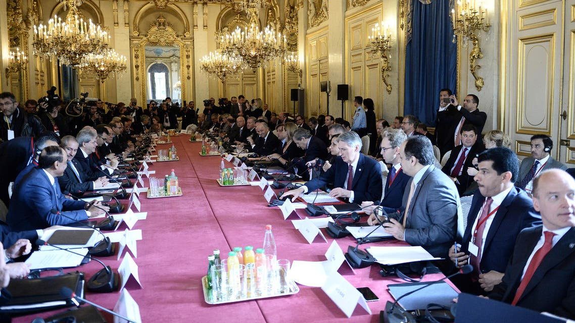 Foreign Ministers and members of the anti-Islamic State coalition meet in Paris, France, to discuss strategy in fighting the jihadists who have made key battlefield advances in recent weeks in Iraq and Syria, Tuesday, June 2, 2015. AP