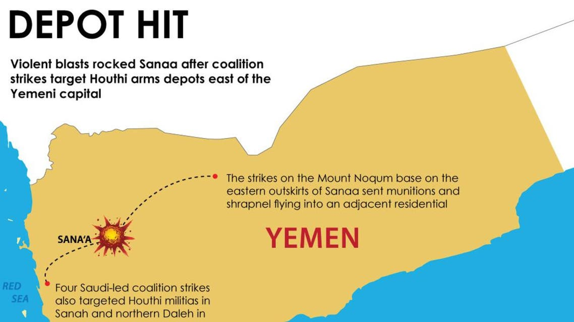 Infographic: Blasts rock Sanaa as Houthi weapons depot hit