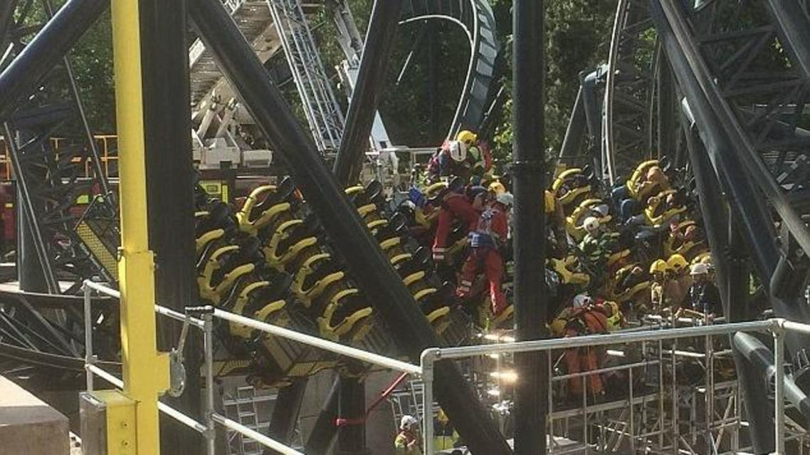 A car on the Smiler ride that was carrying 16 people at the Alton Towers amusement park slammed into a stationary car. (Courtesy: West Midlands Ambulance Service)