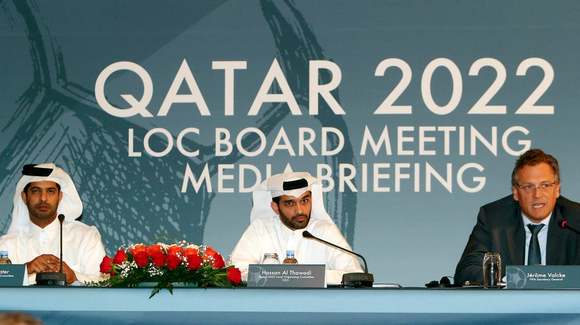 - In this Wednesday, Feb. 25, 2015, file photo, Nasser Al Khater Qatar 2022 Local Organizing Committee Deputy CEO, left, Hassan Al Thawadi, head of the Qatar 2022 World Cup organizing committee, center, and FIFA Secretary General Jerome Valcke give a press conference, in Doha. (AP)