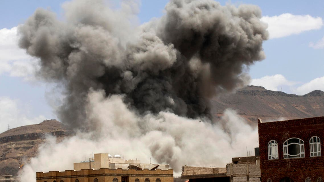 Smoke billows from a fire at a Houthi-controlled military site after it was hit by a Saudi-led air strike in Sanaa, (AP)