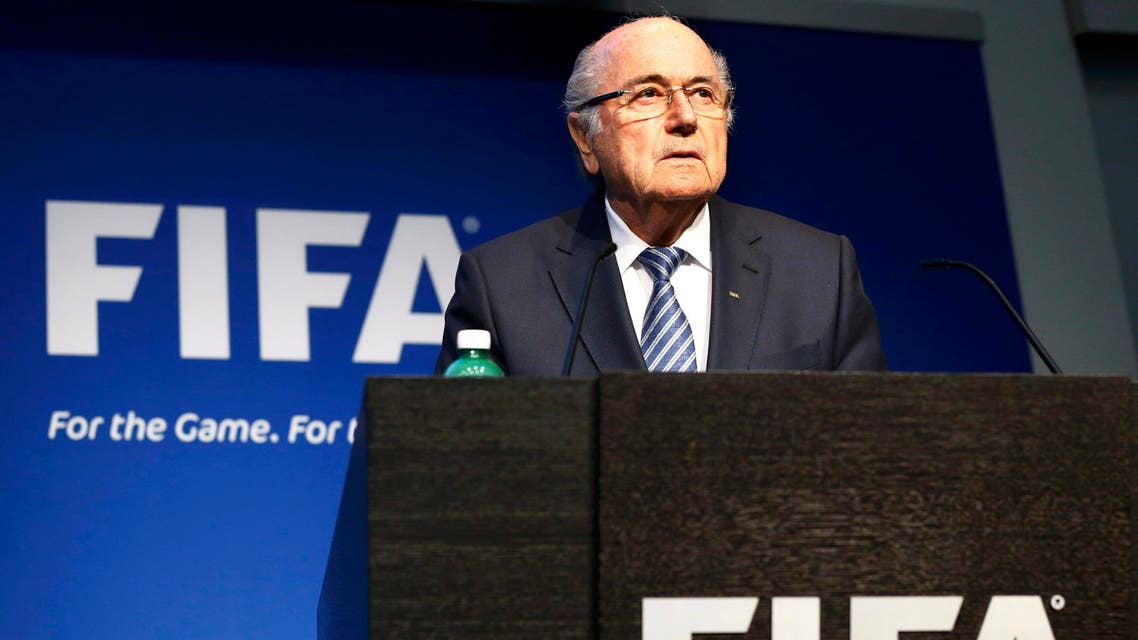 FIFA President Blatter addresses a news conference at the FIFA headquarters in Zurich. (Reuters)