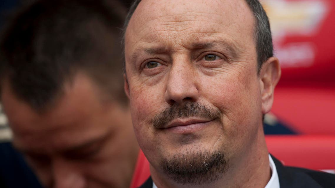 Chelsea's manager Rafa Benitez takes to the touchline before his team's English Premier League soccer match against Manchester United at Old Trafford Stadium, Manchester, England, Sunday May 5, 2013. (AP)