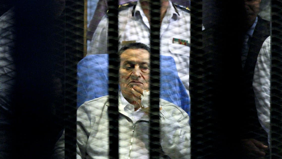 A file photo shows Egypt's deposed President Hosni Mubarak attends a hearing session on April 15, 2013 during his retrial on appeal in Cairo, Egypt. (AP)