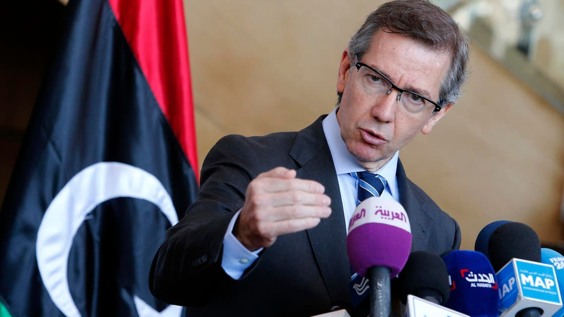 U.N. Special Envoy to Libya, Bernardino Leon, speaks during a press conference at the Palais des Congres of Skhirate 30 km south of Rabat, Friday, March 20, 2015. AP