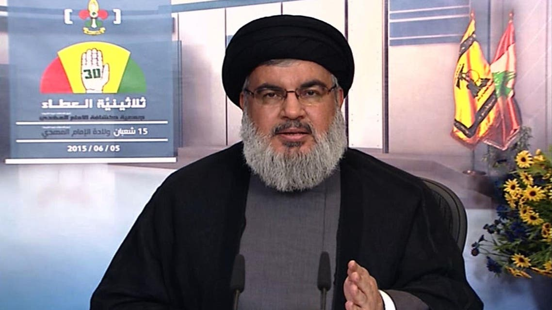 An image grab taken from Hezbollah's al-Manar TV on June 5, 2015, shows Hassan Nasrallah, the head of Lebanon's militant Shiite Muslim movement Hezbollah, giving a televised address from an undisclosed location in Lebanon. (AFP)