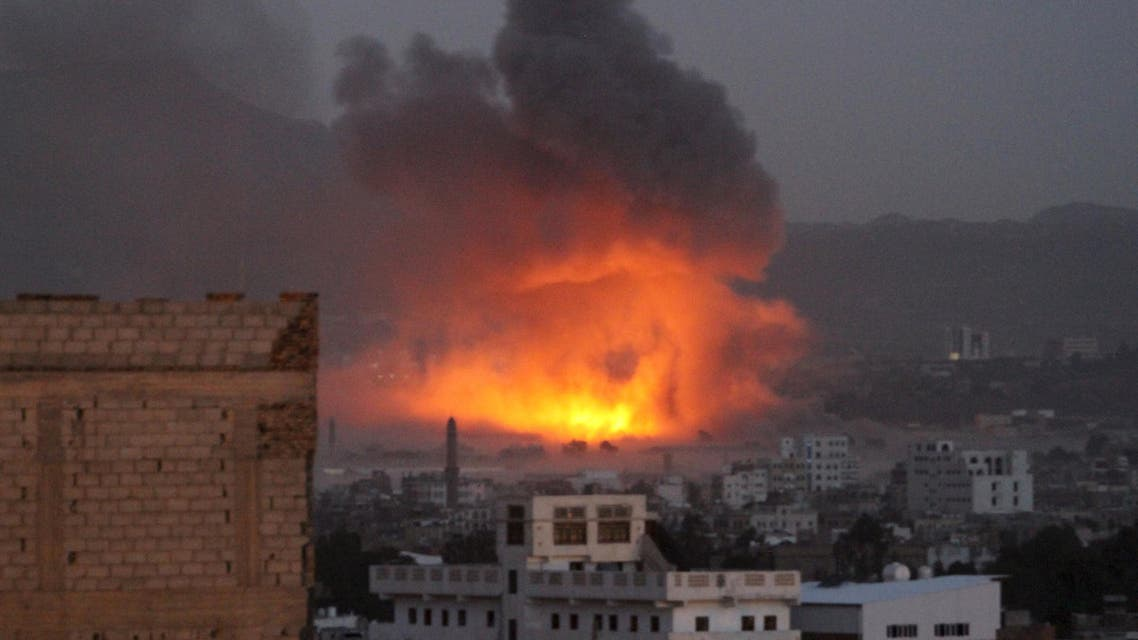 Smoke billows from a fire at a Houthi-controlled military site after it was hit by a Saudi-led air strike in Sanaa, Yemen, June 3, 2015 (Reuters)