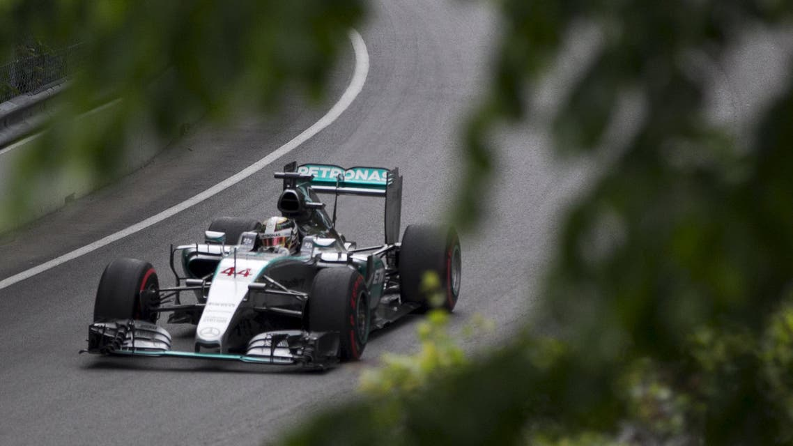 Mercedes Formula One driver Lewis Hamilton of Britain drives his car during the second practice session of the Canadian F1 Grand Prix at the Circuit Gilles Villeneuve in Montreal. (Reuters)