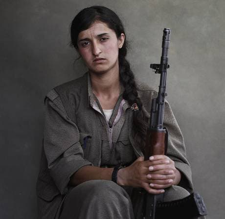 A portrait of Ronahi, a member of the Kurdistan Workers' Party, taken in the Qandil mountains of Iraq (Joey Lawrence)