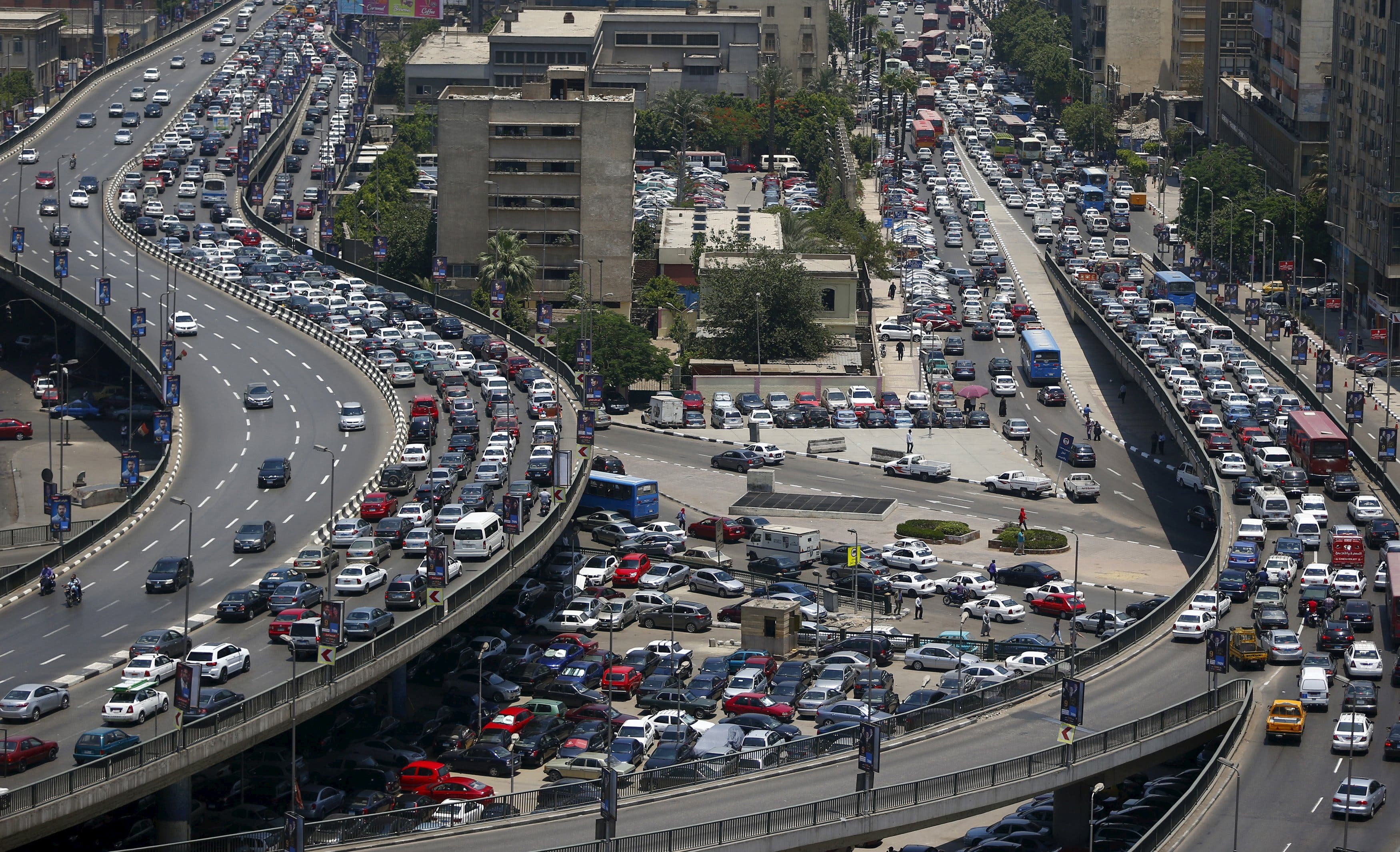 General view shows a traffic jam at the 6th October bridge and Ramses Street in downtown Cairo. (Reuters)