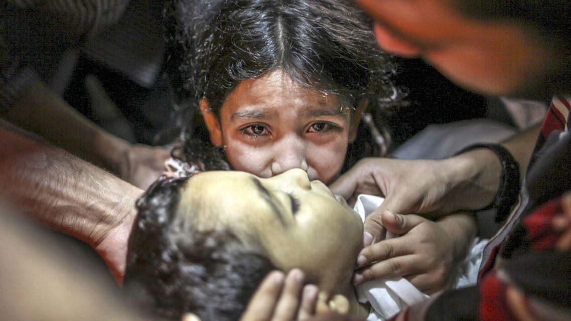 ضحية للقصف الاسرائيلي على غزة في فلسطين