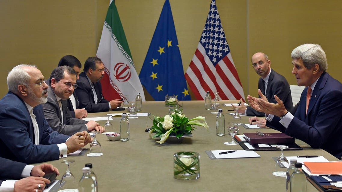U.S. Secretary of State John Kerry, right, during official talks with Iranian Foreign Minister Mohammad Javad Zarif, left, in Geneva, Switzerland, Saturday, May 30, 2015. (AP)