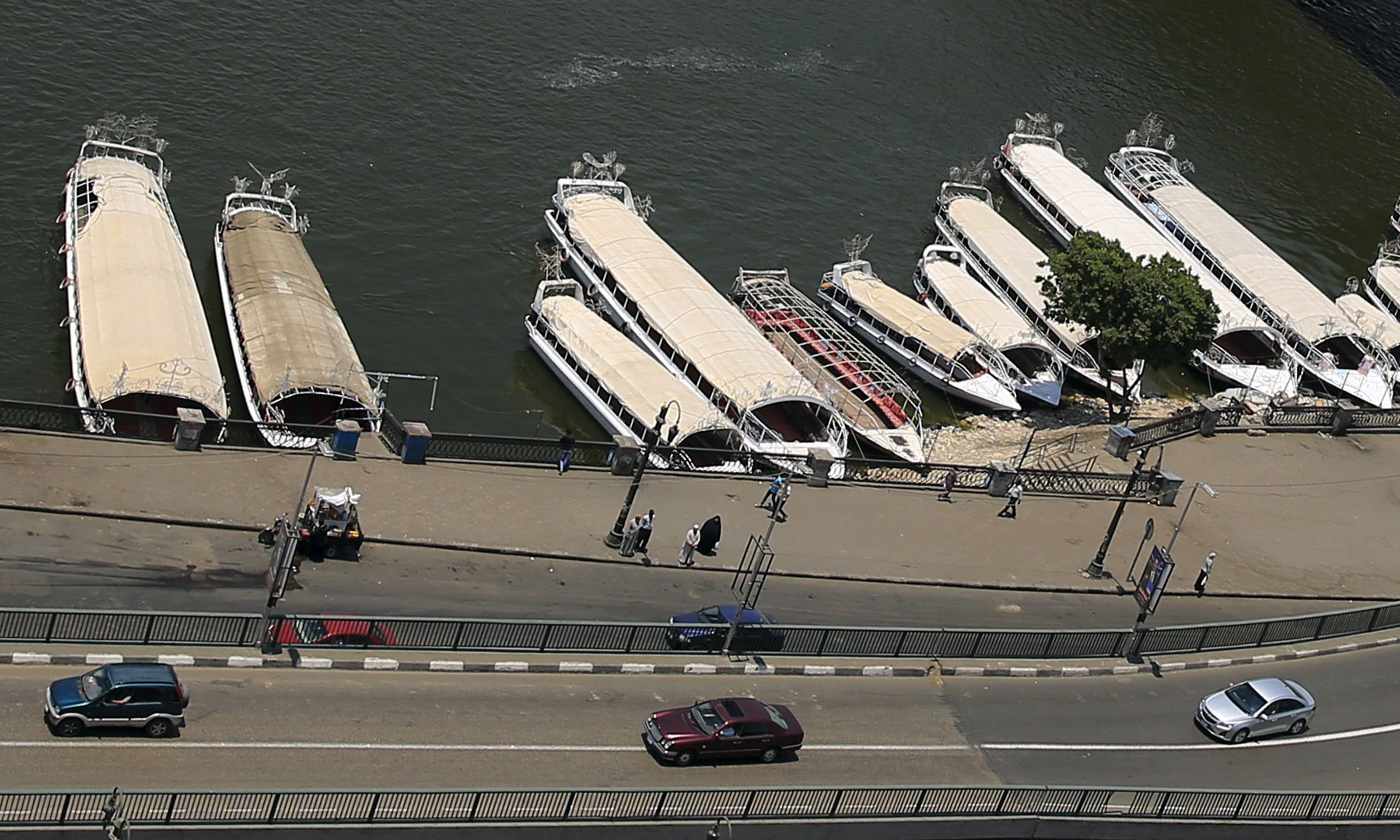 Boats are docked at the bay of River Nile in downtown Cairo. (Reuters)