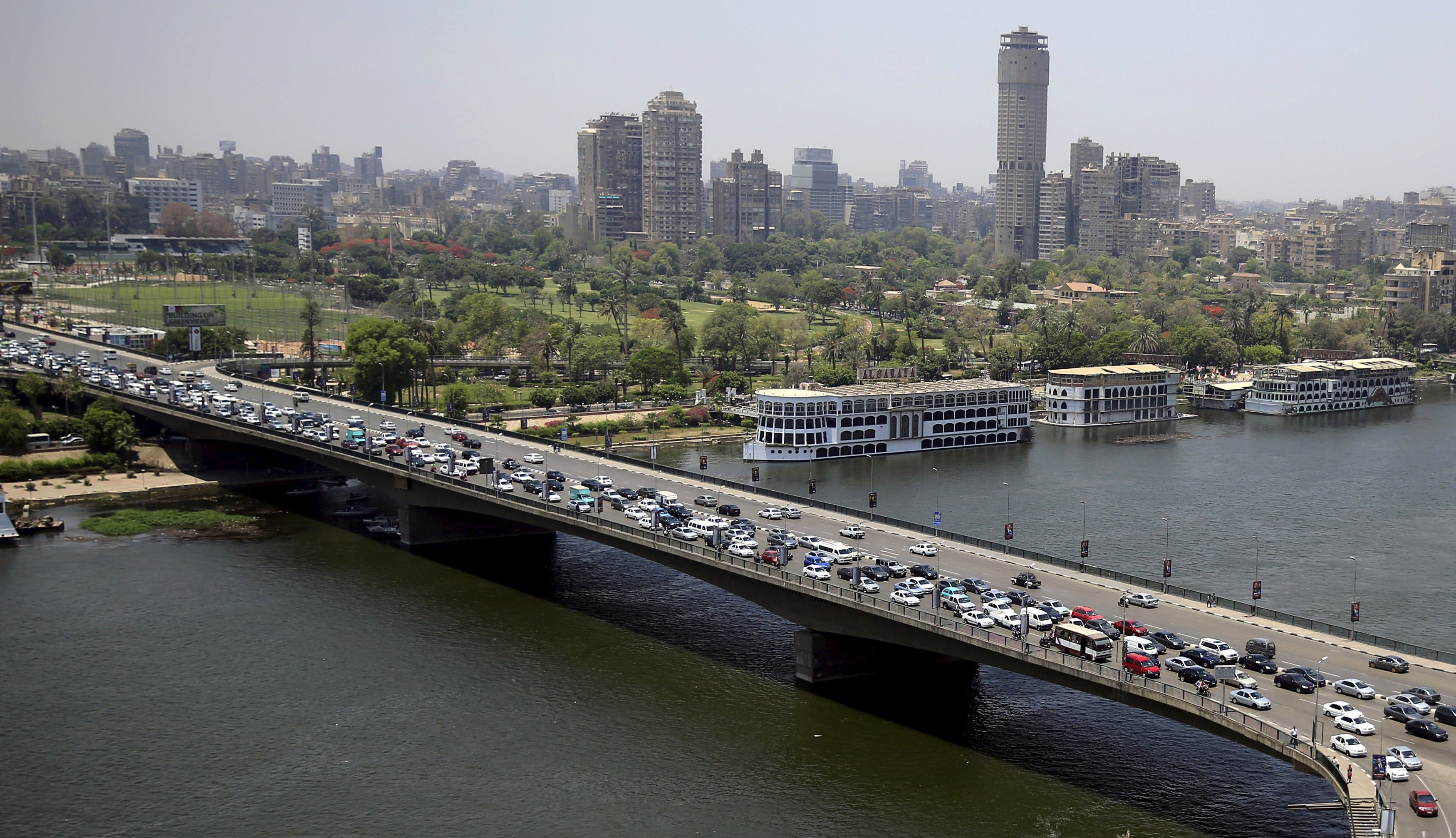 General view shows a traffic jam on the 6th October bridge over the River Nile in downtown Cairo. (Reuters)