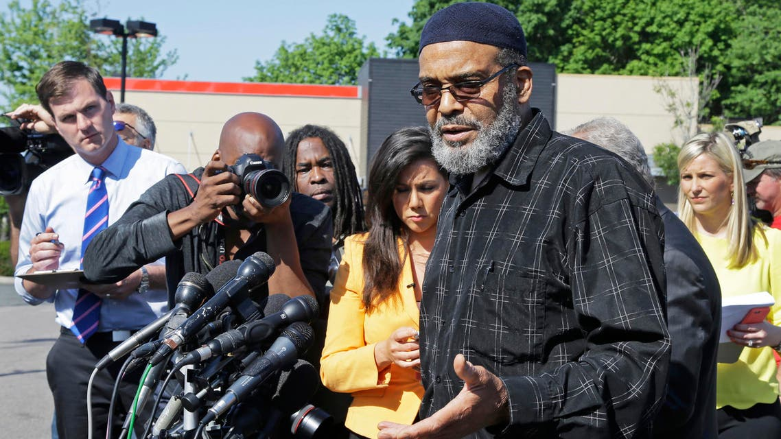 Imam Abdullah Faaruuq speaks during a news conference Thursday, June 4, 2015, in Boston's Roslindale neighborhood in the area where Usaama Rahim, 26, was shot to death. Faaruuq, a Muslim leader close to the Rahim family, said that his killing by Boston police and the FBI was reckless and unnecessary. Police said Usaama Rahim had lunged at members of the Joint Terrorism Task Force with a knife when they approached him. (AP Photo/Elise Amendola)
