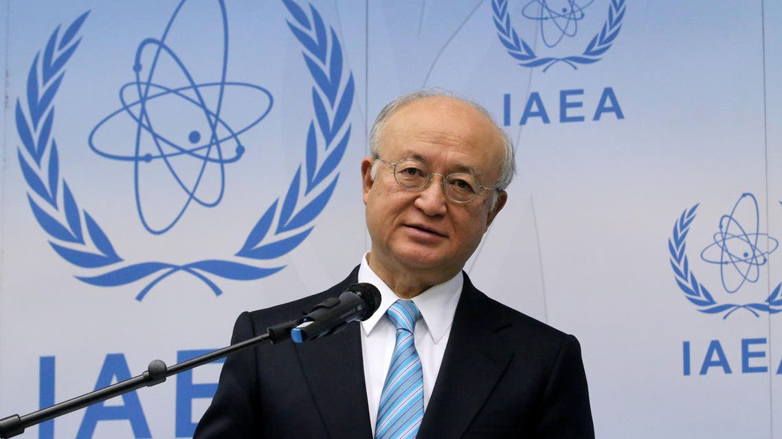 Director General of the International Atomic Energy Agency, IAEA, Yukiya Amano of Japan addresses the media during a news conference after a meeting of the IAEA board of governors at the International Center Vienna, Austria, Monday, March 2, 2015. (AP Photo/Ronald Zak)