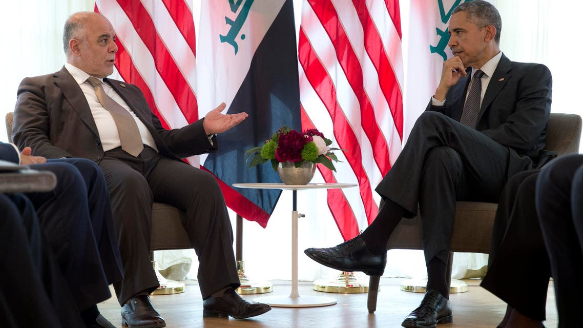 US President Barack Obama and Iraqi Prime Minister Haider al-Abadi, left, talk in a bilateral meeting during the G-7 summit in Schloss Elmau hotel near Garmisch-Partenkirchen, southern Germany, Monday, June 8, 2015. (AP Photo/Carolyn Kaster)
