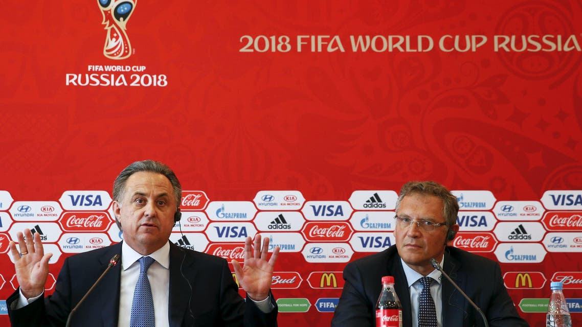 Russian Sports Minister Mutko and FIFA Secretary General Valcke attend a news conference in Samara. (Reuters)