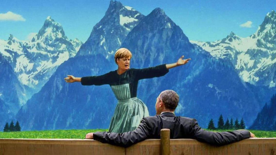 One of the many photoshopped images of Obama and Merkel at the G7 summit. (Twitter/@exiledsurfer))