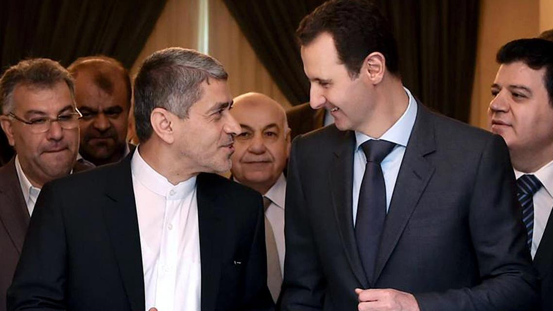 Iranian minister of economy and financial affairs, Ali Tayebnia, left, in Damascus, Syria, Monday, March 16, 2015.  AP