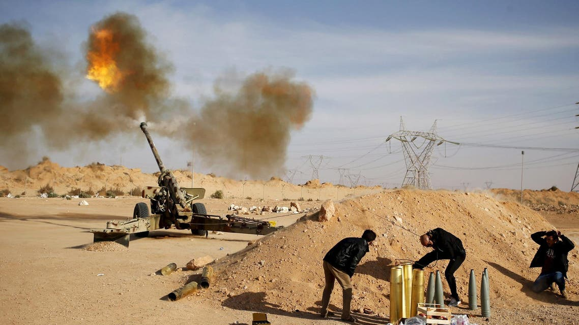 Libya Dawn fighters fire an artillery cannon at ISIS militants near Sirte March 19, 2015. (Reuters)