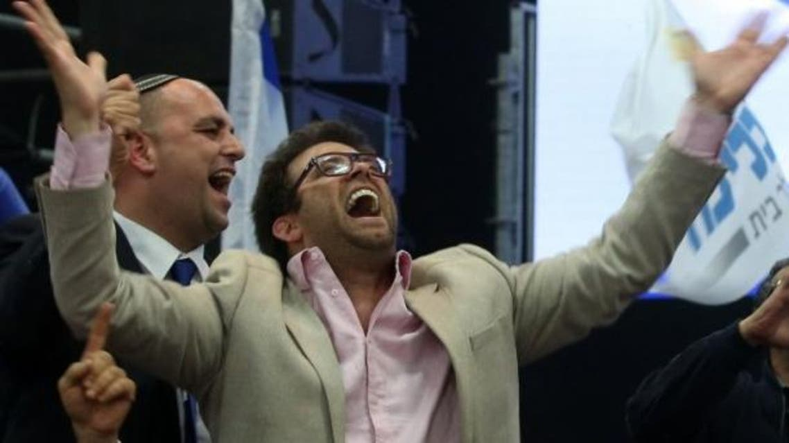 A picture dated on March 18, 2015 shows Israel's deputy parliament speaker, lawmaker Oren Hazan, celebrating the exit polls for Israel's parliamentary elections, at the Likud headquarters in Tel Aviv. (AFP)