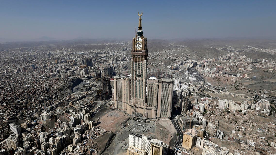This Oct. 27, 2012 file aerial image made from a helicopter shows the Abraj Al-Bait Tower, also known as Makkah Royal Clock Tower Hotel, during the annual Hajj in the Saudi holy city of Mecca, Saudi Arabia. According to the nonprofit Council on Tall Buildings and Urban Habitat, the Abraj Al-Bait Tower is the second tallest completed building in the world with the height measured at 1,972 feet. (AP Photo/Hassan Ammar, File)