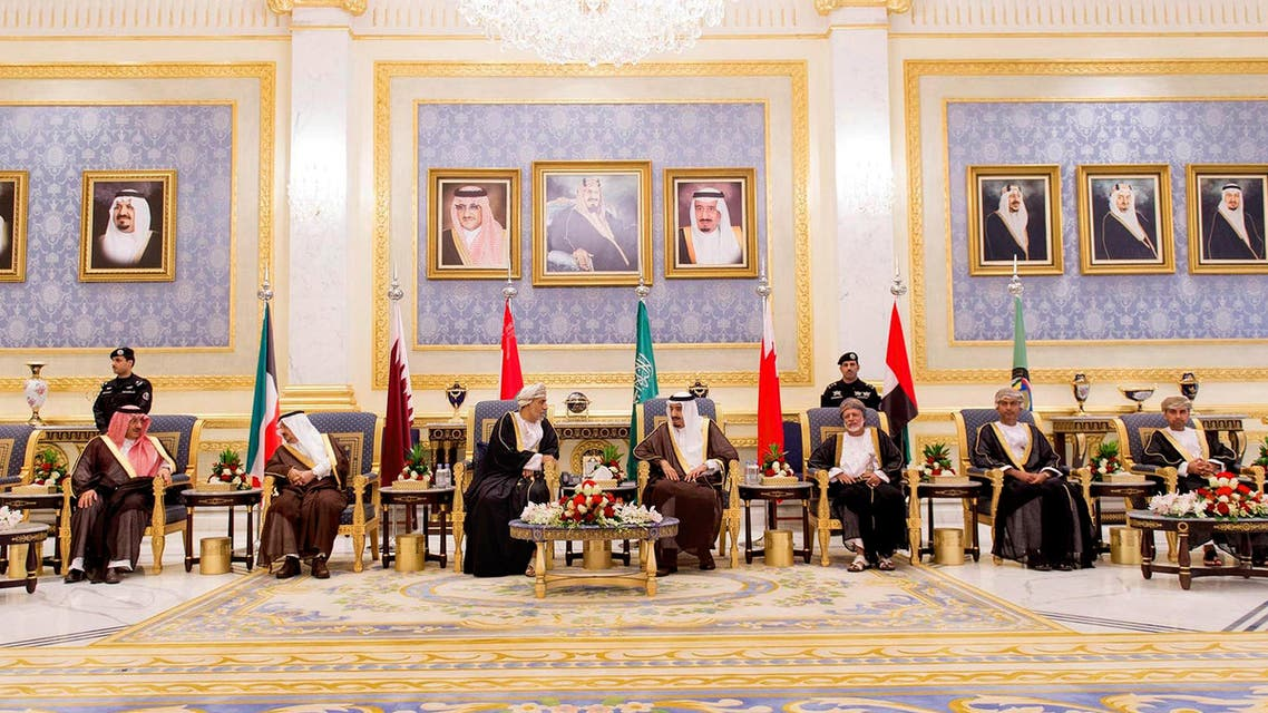 In this picture provided by the office of the Saudi Press Agency, King Salman of Saudi Arabia, center, welcomes Sayyid Shihab bin Tariq Al Said, Representative of Sultan Qaboos bin Said of Sultanate of Oman, third left, upon his arrival to Riyadh Airbase before the opening of Gulf Cooperation Council summit in Riyadh, Saudi Arabia, Tuesday, May 5, 2015. (Saudi Press Agency via AP)