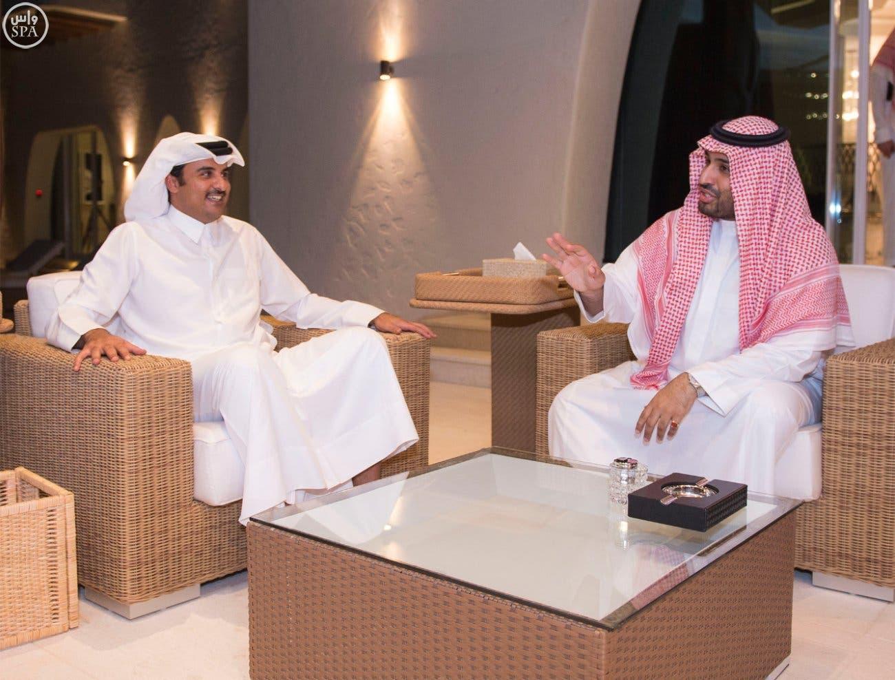 أمير يستقبل محمد سلمان الدوحة صـــــــــــــــــــــور