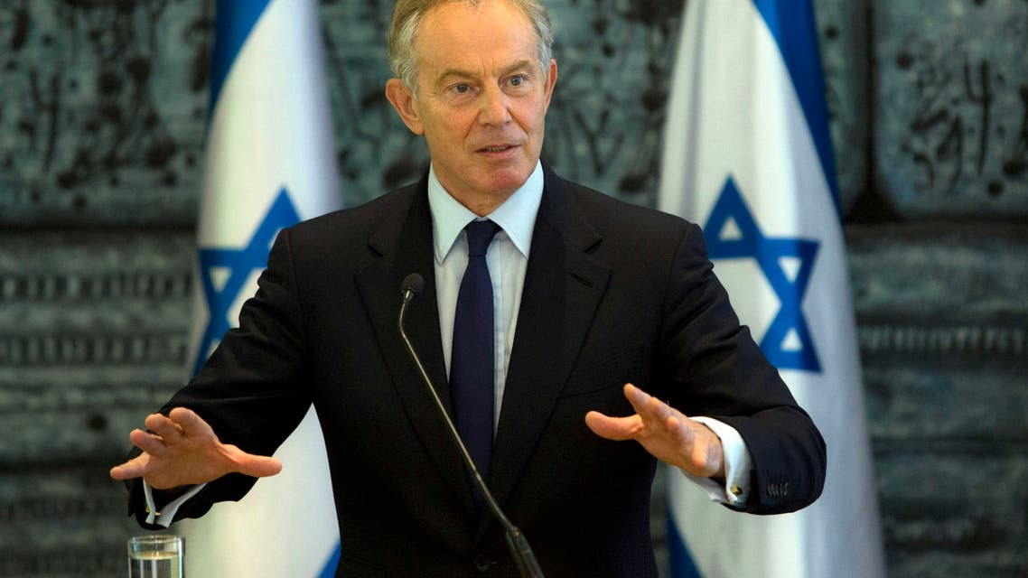In this Tuesday, July 15, 2014 file photo, former British Prime Minister and Mideast envoy Tony Blair gestures as he speaks during joint statements with Israel's President Shimon Peres at the President's residence in Jerusalem. Blair on Wednesday, May 27, 2015, stepped down from his post as the international community's Mideast envoy, officials said, ending a term that began with great promise but which struggled to deliver dramatic changes in its quest to promote peace between Israel and the Palestinians. (AP Photo/Sebastian Scheiner, File)