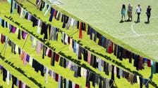 Stadium of skirts targets stigma attached to victims of wartime rape