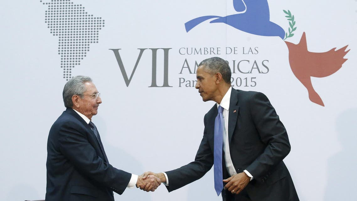 U.S. President Barack Obama shakes hands with Cuba's President Raul Castro as they hold a bilateral meeting during the Summit of the Americas in Panama City, Panama in this file image from April 11, 2015.(File Phot: AP)