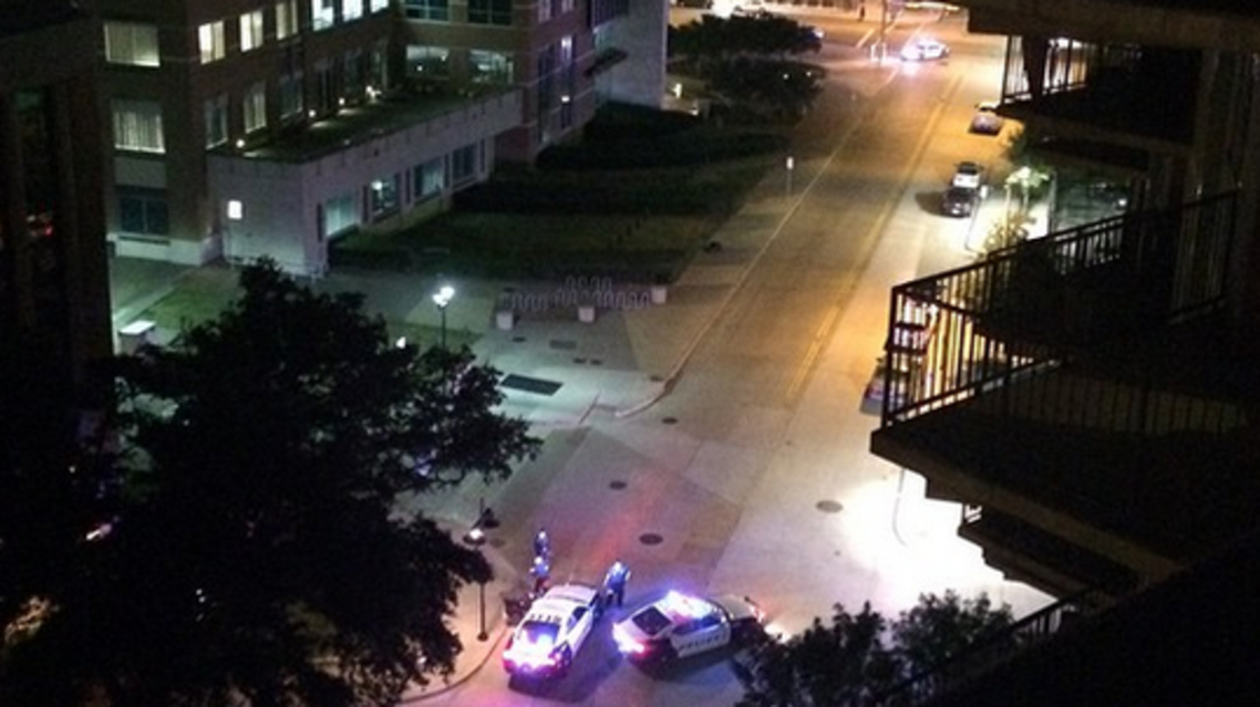 Gunfire was reported just after midnight Saturday outside the Dallas Police Department Headquarters(Instagram/@TheStreetFA)