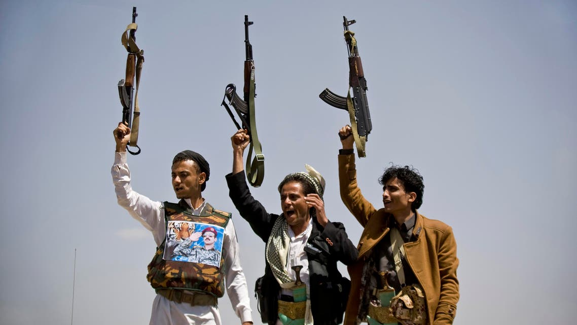 Supporters of Ahmed Ali Abdullah Saleh, the son of Yemeni former President Ali Abdullah Saleh, hold their weapons. (File photo: AP)