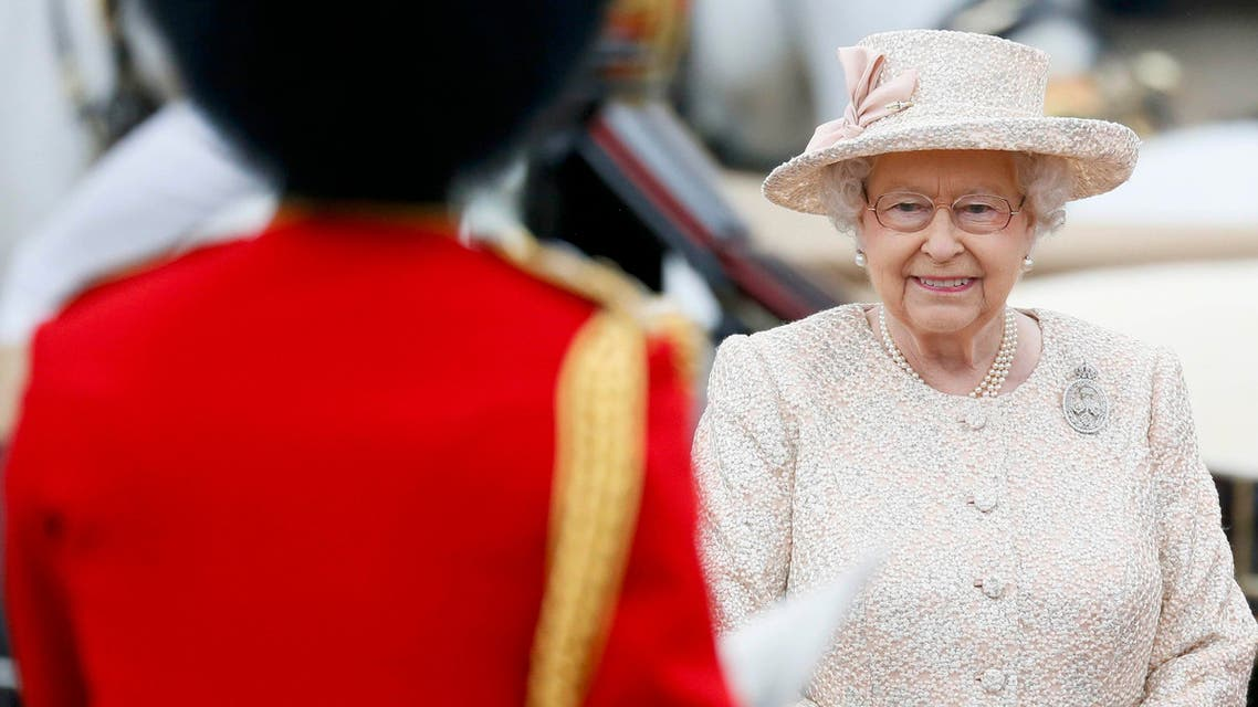 Britain's Queen Elizabeth returns Buckingham Palace after attending the Trooping the Colour ceremony at Horse Guards Parade in central London. (Reuters)