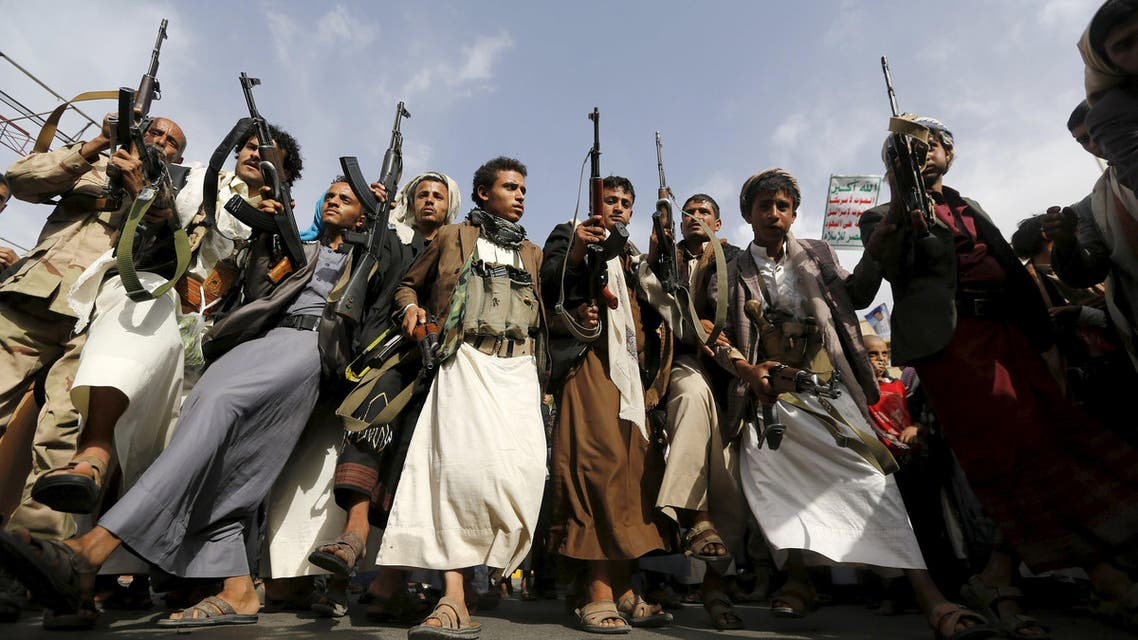 Armed Houthi followers rally against Saudi-led air strikes in Sanaa. (Reuters)