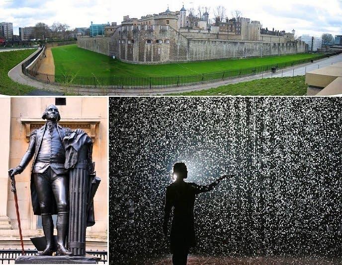 وعن تمثال جورج واشنطن كما وعن غرفة المطر وبرج لندن توجد حكايات وقصص غريبة أيضا
