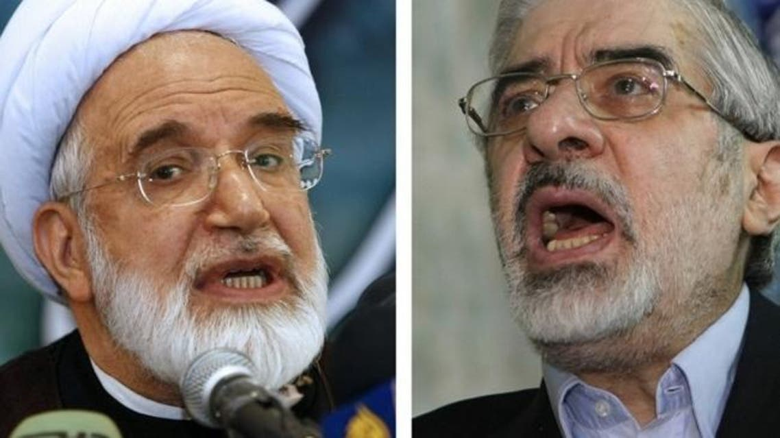 A combo of recent file pictures shows Iranian opposition leaders Mir Hossein Mousavi (R) and Mehdi Karroubi. (File Photos:AFP)