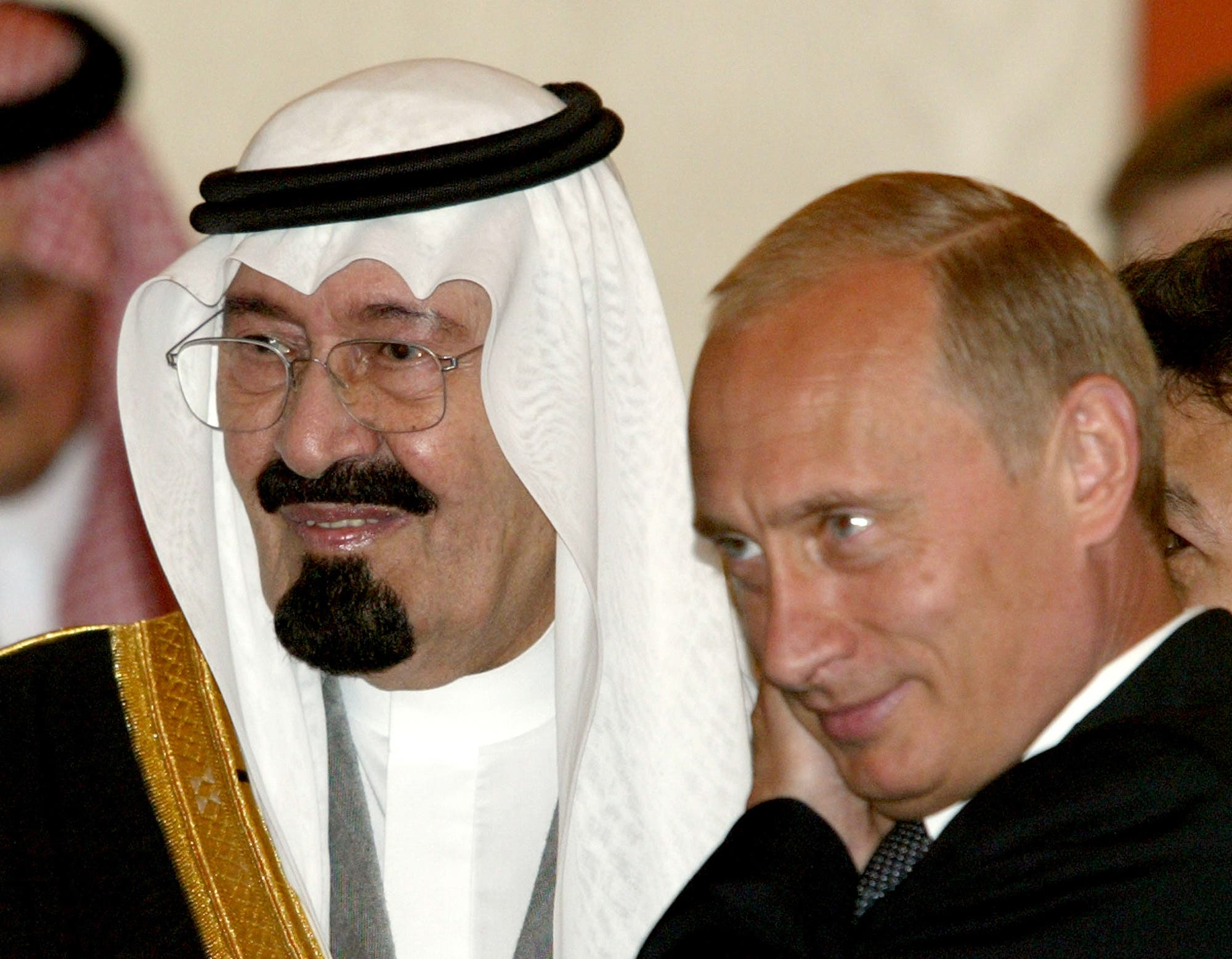 Saudi Arabia's Crown Prince Abdullah, left, and Russian President Vladimir Putin are seen during a meeting at the Kremlin in Moscow, Tuesday, Sept. 2, 2003.