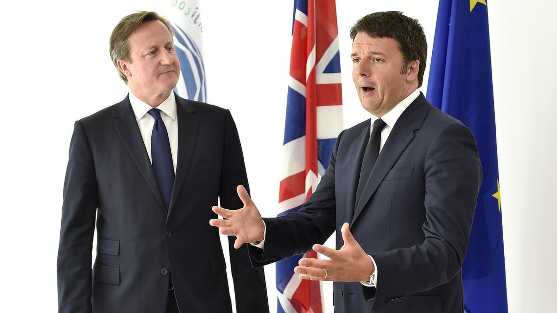 Italian Prime Minister Renzi speaks next his British counterpart Cameron during an event at the Milan Expo 2015 global fair in Milan. (Reuters)