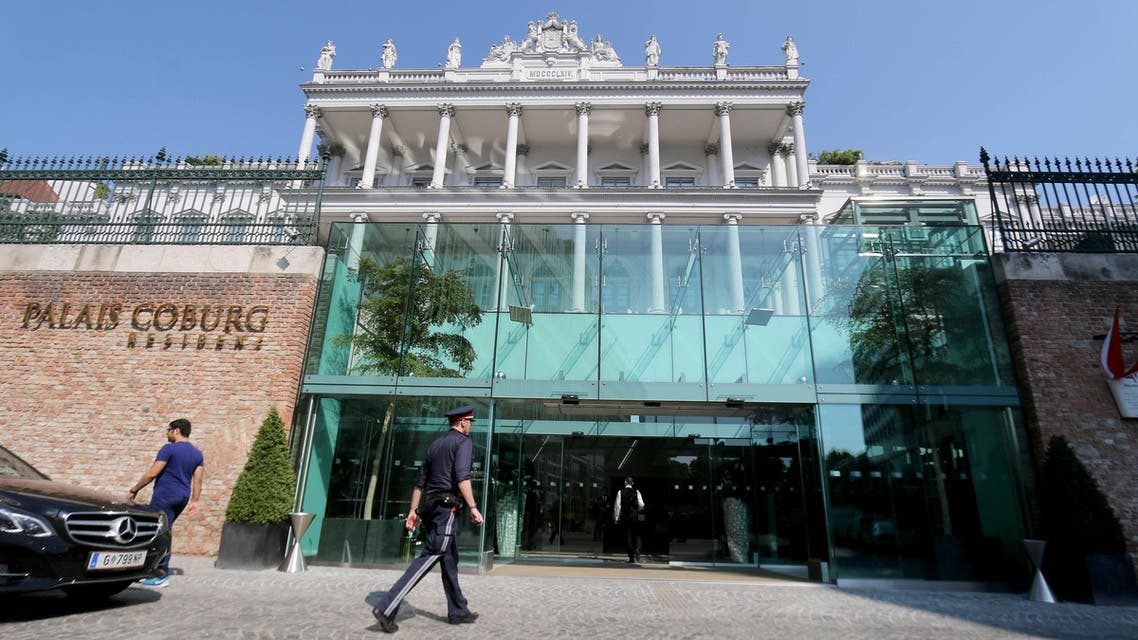 A police walks past the hotel where closed-door nuclear talks with Iran take place in downtown Vienna, Austria, Friday, June 12, 2015. (Reuters)