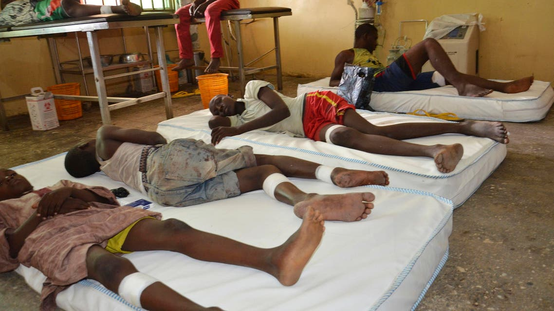 Victims receive treatment at a hospital, after an explosion in Maiduguri, Nigeria, Wednesday, June 17, 2015. (AP)